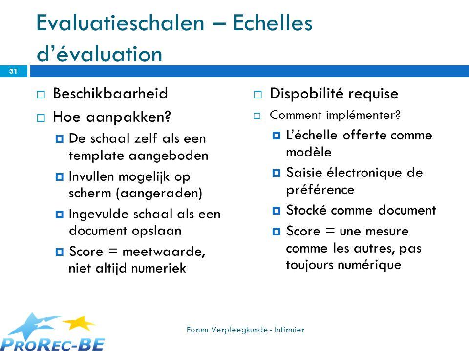 Evaluatieschalen – Echelles dévaluation Beschikbaarheid Hoe aanpakken? De schaal zelf als een template aangeboden Invullen mogelijk op scherm (aangera