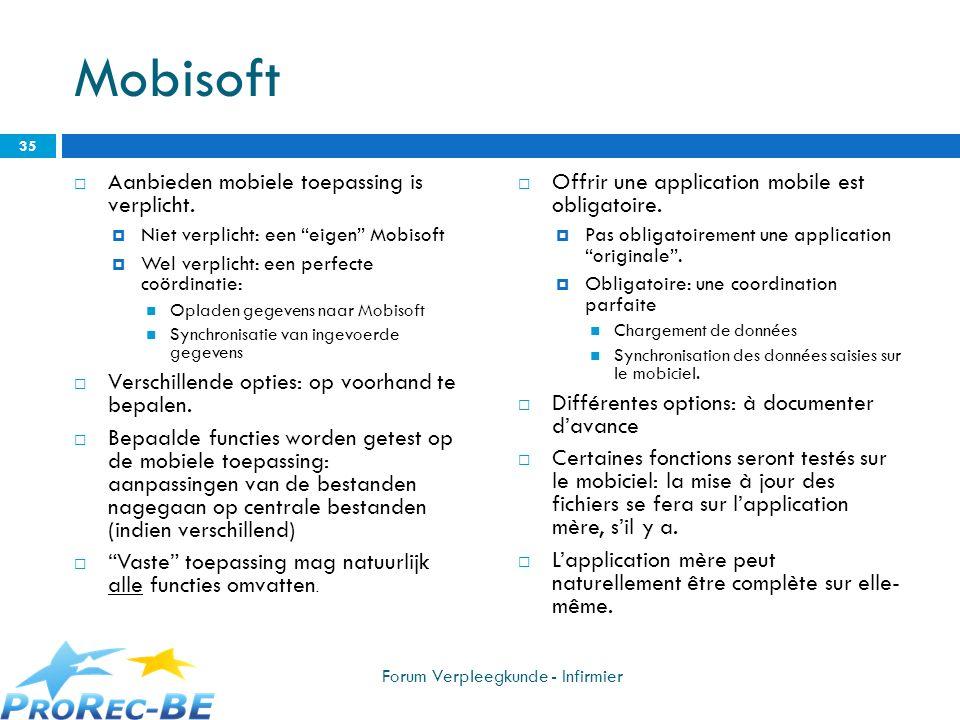 Mobisoft Aanbieden mobiele toepassing is verplicht. Niet verplicht: een eigen Mobisoft Wel verplicht: een perfecte coördinatie: Opladen gegevens naar