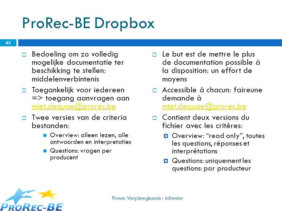 ProRec-BE Dropbox Bedoeling om zo volledig mogelijke documentatie ter beschikking te stellen: middelenverbintenis Toegankelijk voor iedereen => toegan
