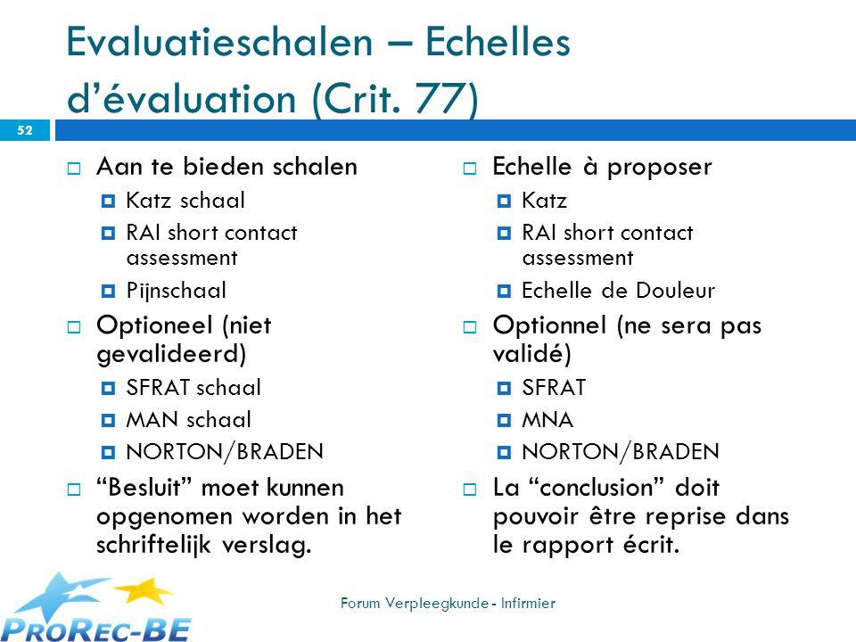 Evaluatieschalen – Echelles dévaluation (Crit. 77) Aan te bieden schalen Katz schaal RAI short contact assessment Pijnschaal Optioneel (niet gevalidee
