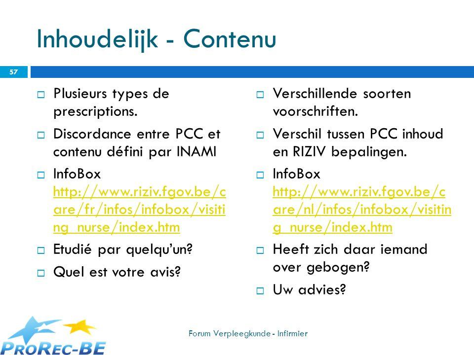 Inhoudelijk - Contenu Plusieurs types de prescriptions. Discordance entre PCC et contenu défini par INAMI InfoBox http://www.riziv.fgov.be/c are/fr/in