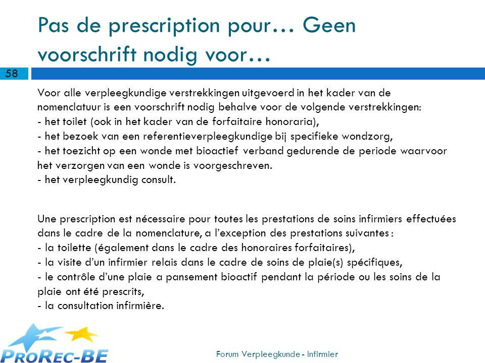 Pas de prescription pour… Geen voorschrift nodig voor… Voor alle verpleegkundige verstrekkingen uitgevoerd in het kader van de nomenclatuur is een voo