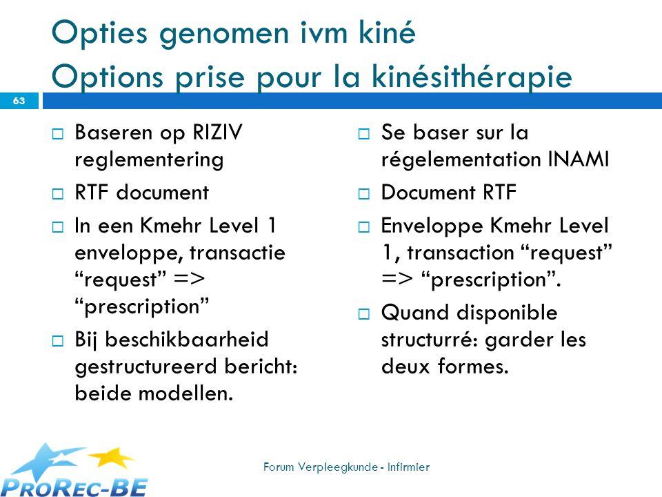 Opties genomen ivm kiné Options prise pour la kinésithérapie Baseren op RIZIV reglementering RTF document In een Kmehr Level 1 enveloppe, transactie r