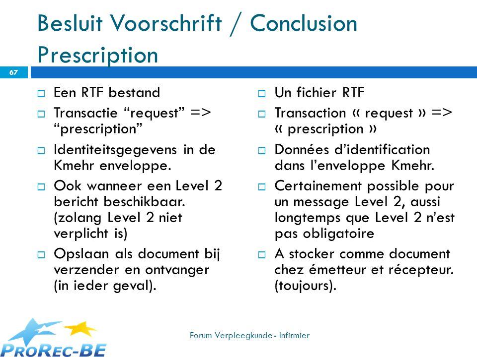 Besluit Voorschrift / Conclusion Prescription Een RTF bestand Transactie request => prescription Identiteitsgegevens in de Kmehr enveloppe. Ook wannee