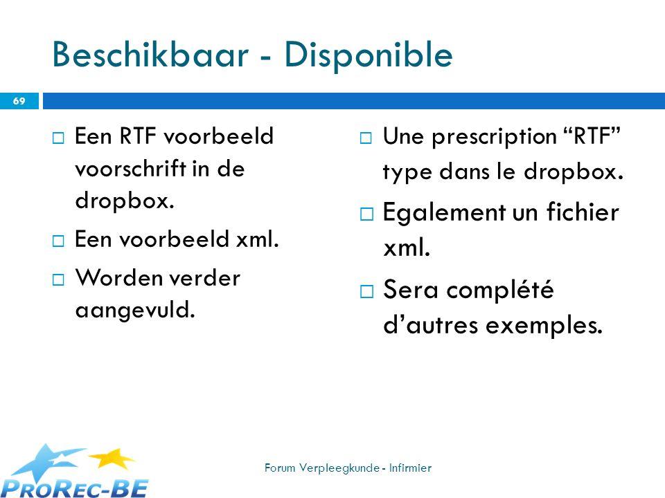 Beschikbaar - Disponible Een RTF voorbeeld voorschrift in de dropbox. Een voorbeeld xml. Worden verder aangevuld. Une prescription RTF type dans le dr