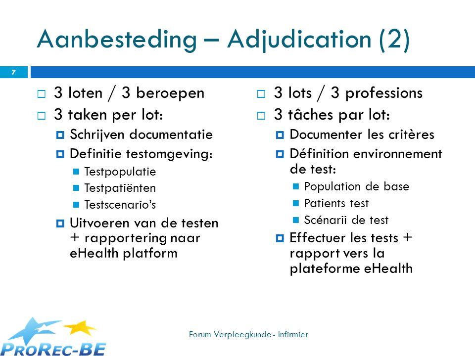 Aanbesteding – Adjudication (2) 3 loten / 3 beroepen 3 taken per lot: Schrijven documentatie Definitie testomgeving: Testpopulatie Testpatiënten Tests