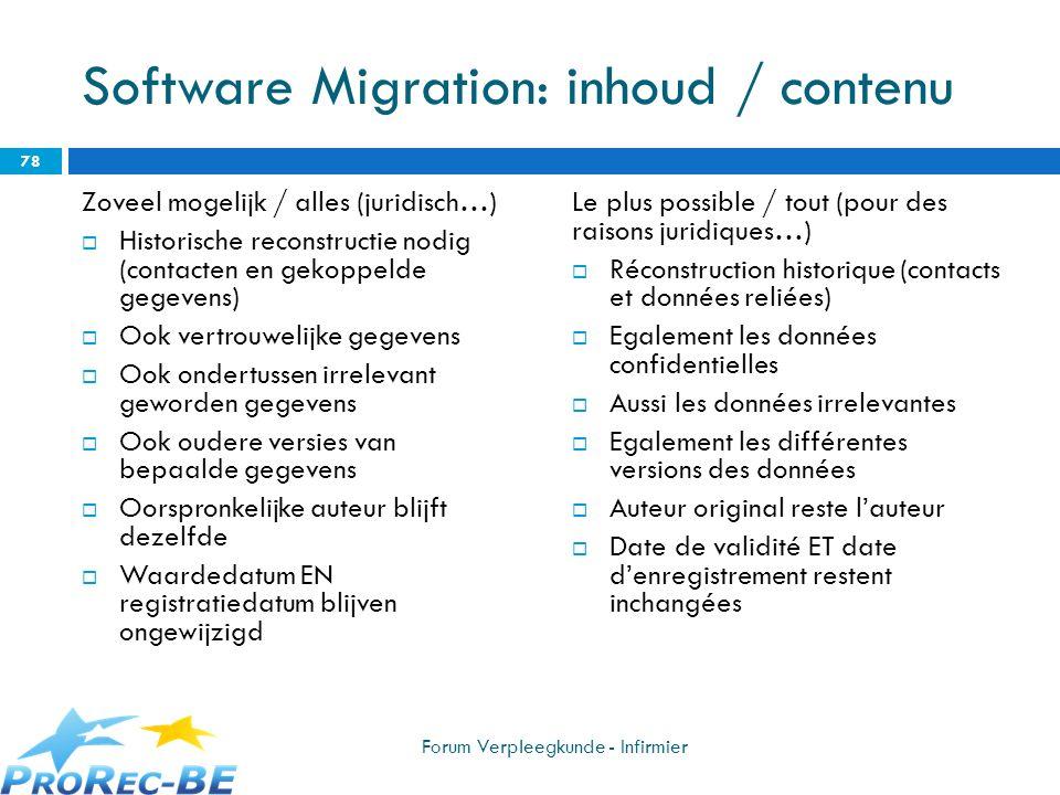 Software Migration: inhoud / contenu Zoveel mogelijk / alles (juridisch…) Historische reconstructie nodig (contacten en gekoppelde gegevens) Ook vertr