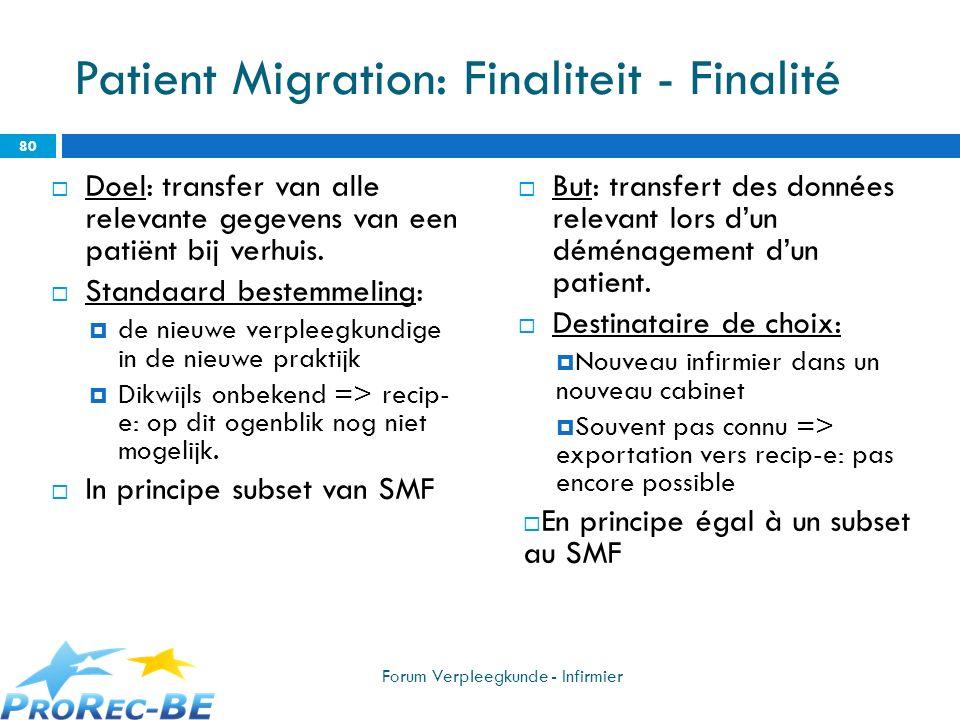 Patient Migration: Finaliteit - Finalité Doel: transfer van alle relevante gegevens van een patiënt bij verhuis. Standaard bestemmeling: de nieuwe ver