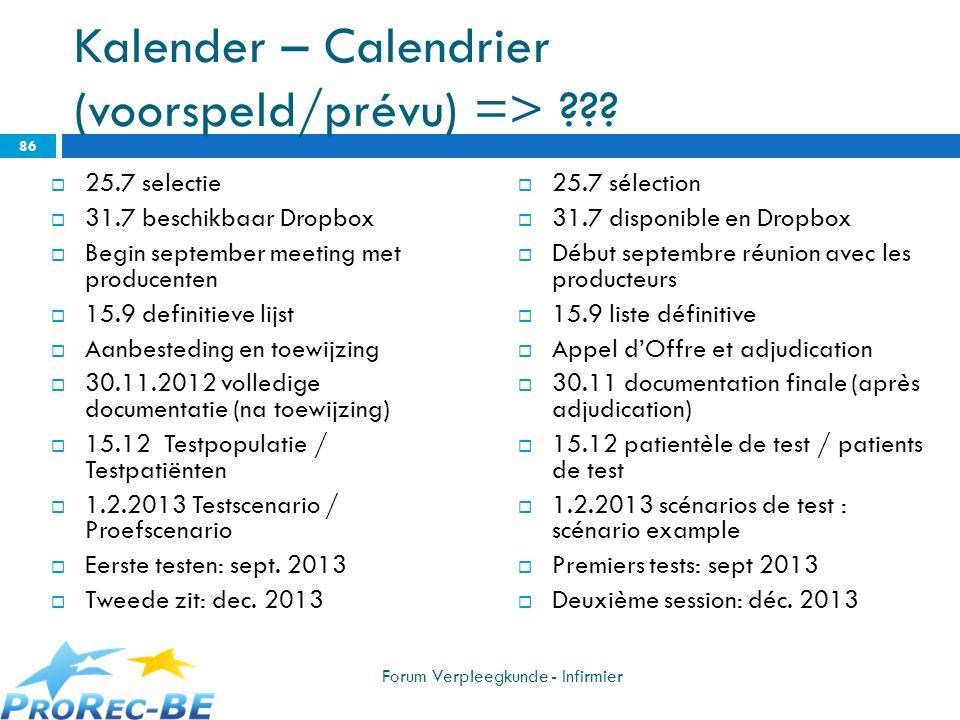 Kalender – Calendrier (voorspeld/prévu) => ??? 25.7 selectie 31.7 beschikbaar Dropbox Begin september meeting met producenten 15.9 definitieve lijst A
