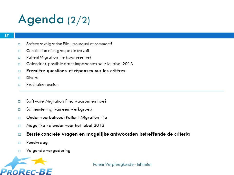 Agenda (2/2) Software Migration File : pourquoi et comment? Constitution dun groupe de travail Patient Migration File (sous réserve) Calendrier: possi
