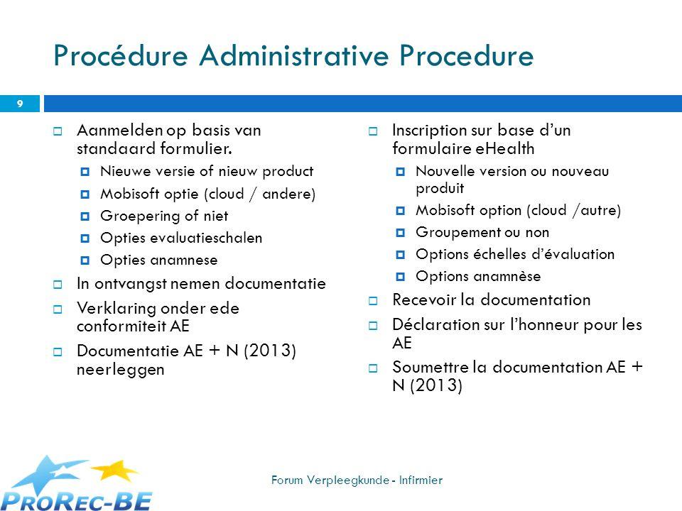 Procédure Administrative Procedure Aanmelden op basis van standaard formulier. Nieuwe versie of nieuw product Mobisoft optie (cloud / andere) Groeperi
