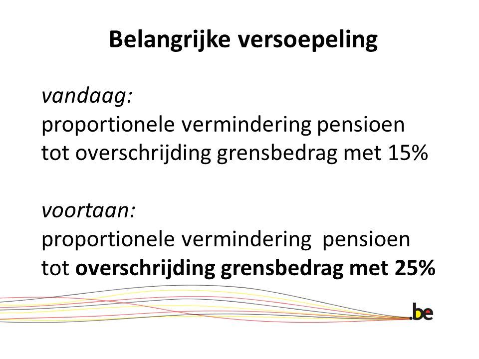 Belangrijke versoepeling vandaag: proportionele vermindering pensioen tot overschrijding grensbedrag met 15% voortaan: proportionele vermindering pens