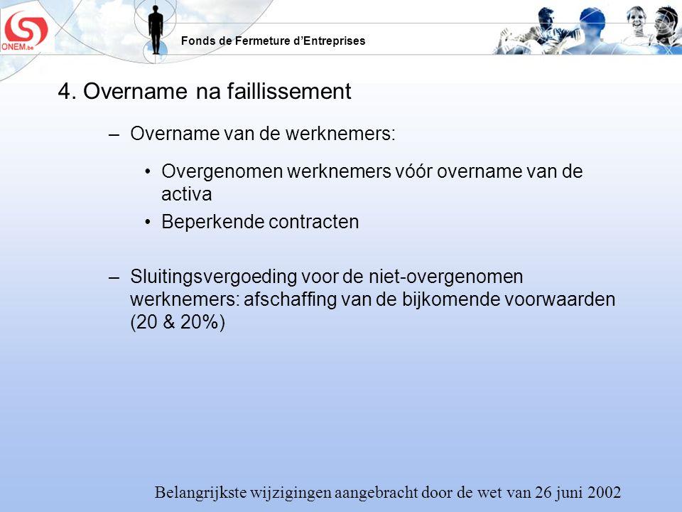 Fonds de Fermeture dEntreprises 4. Overname na faillissement –Overname van de werknemers: Overgenomen werknemers vóór overname van de activa Beperkend