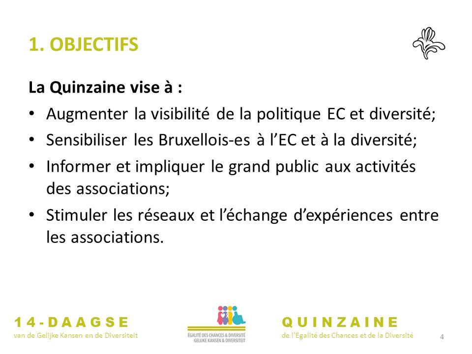 4 1. OBJECTIFS La Quinzaine vise à : Augmenter la visibilité de la politique EC et diversité; Sensibiliser les Bruxellois-es à lEC et à la diversité;