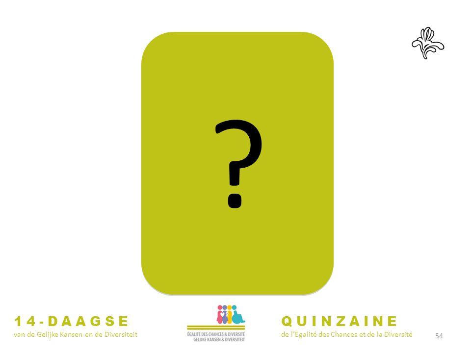 54 ? ? 14-DAAGSE van de Gelijke Kansen en de Diversiteit QUINZAINE de lEgalité des Chances et de la Diversité