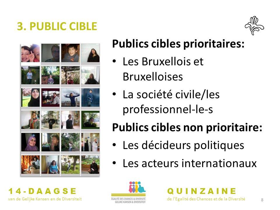 8 3. PUBLIC CIBLE Publics cibles prioritaires: Les Bruxellois et Bruxelloises La société civile/les professionnel-le-s Publics cibles non prioritaire: