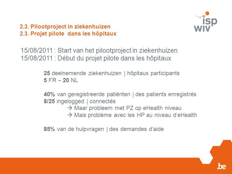 2.3. Pilootproject in ziekenhuizen 2.3.
