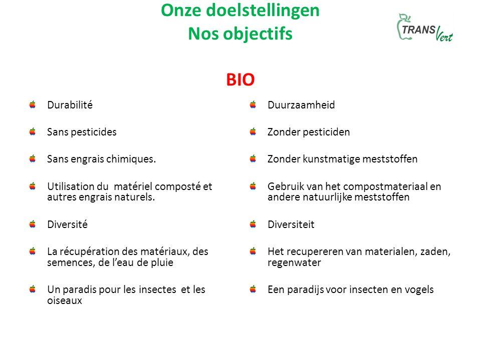 Onze doelstellingen Nos objectifs BIO Durabilité Sans pesticides Sans engrais chimiques.