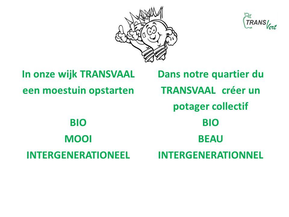 In onze wijk TRANSVAAL een moestuin opstarten BIO MOOI INTERGENERATIONEEL Dans notre quartier du TRANSVAAL créer un potager collectif BIO BEAU INTERGENERATIONNEL