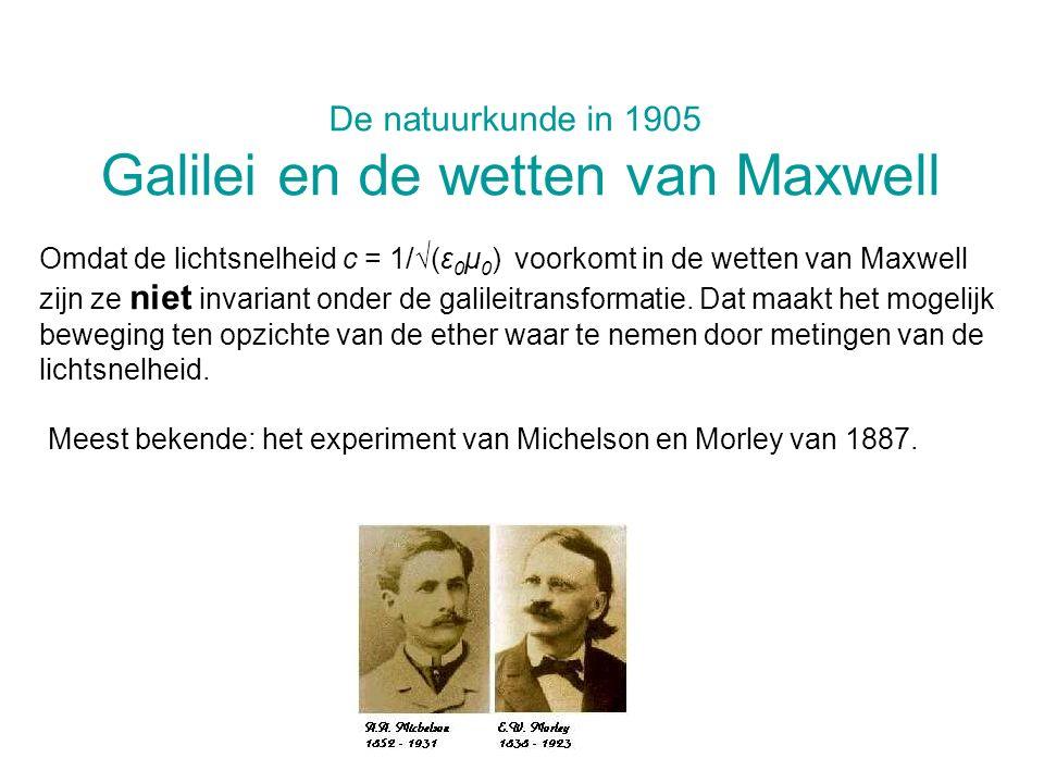 De natuurkunde in 1905 Galilei en de wetten van Maxwell Omdat de lichtsnelheid c = 1/(ε 0 μ 0 ) voorkomt in de wetten van Maxwell zijn ze niet invaria