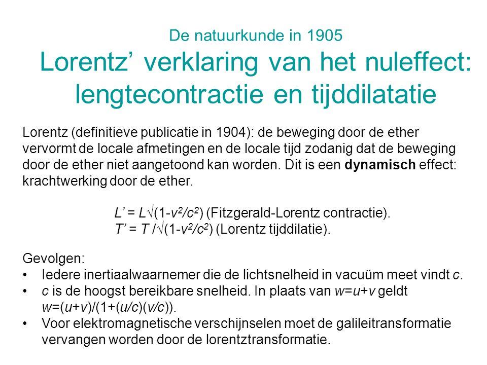 De natuurkunde in 1905 Lorentz verklaring van het nuleffect: lengtecontractie en tijddilatatie Lorentz (definitieve publicatie in 1904): de beweging d