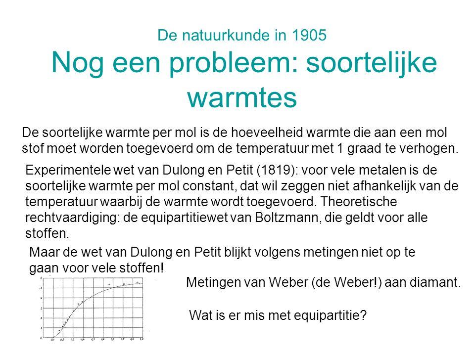 De natuurkunde in 1905 Nog een probleem: soortelijke warmtes Experimentele wet van Dulong en Petit (1819): voor vele metalen is de soortelijke warmte