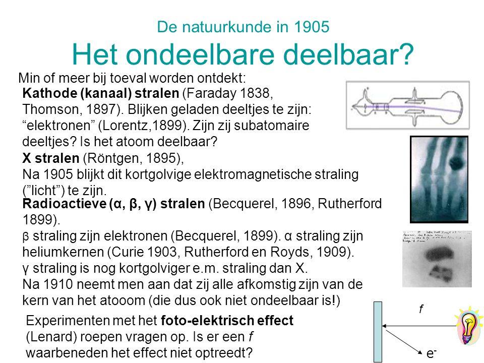 De natuurkunde in 1905 Het ondeelbare deelbaar? Min of meer bij toeval worden ontdekt: Radioactieve (α, β, γ) stralen (Becquerel, 1896, Rutherford 189