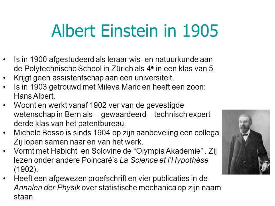 Albert Einstein in 1905 Is in 1900 afgestudeerd als leraar wis- en natuurkunde aan de Polytechnische School in Zürich als 4 e in een klas van 5. Krijg
