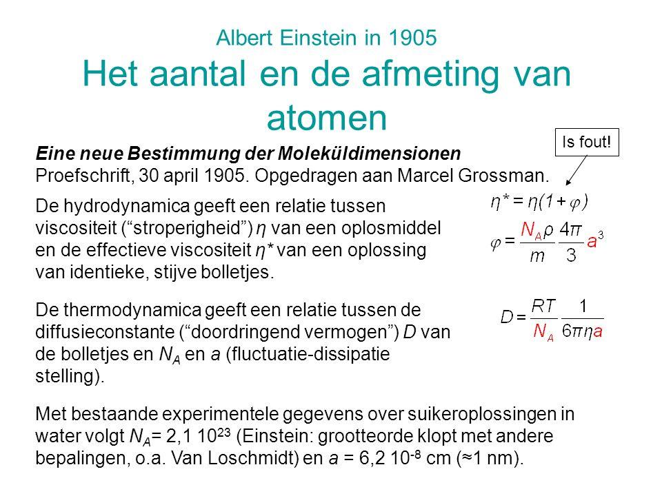 Albert Einstein in 1905 Het aantal en de afmeting van atomen Eine neue Bestimmung der Moleküldimensionen Proefschrift, 30 april 1905. Opgedragen aan M