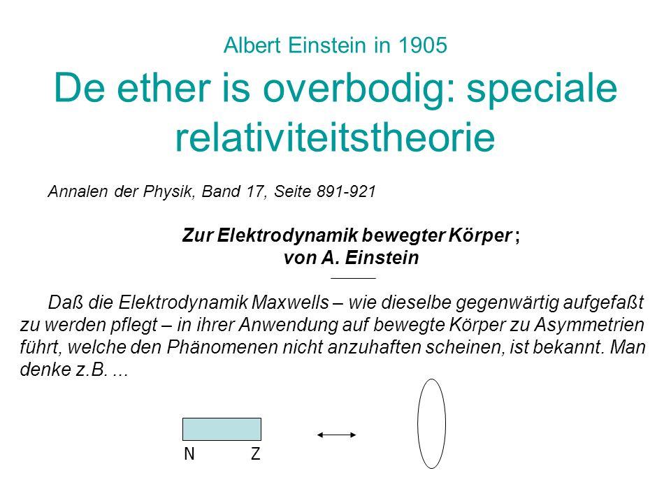 Albert Einstein in 1905 De ether is overbodig: speciale relativiteitstheorie Annalen der Physik, Band 17, Seite 891-921 Zur Elektrodynamik bewegter Kö
