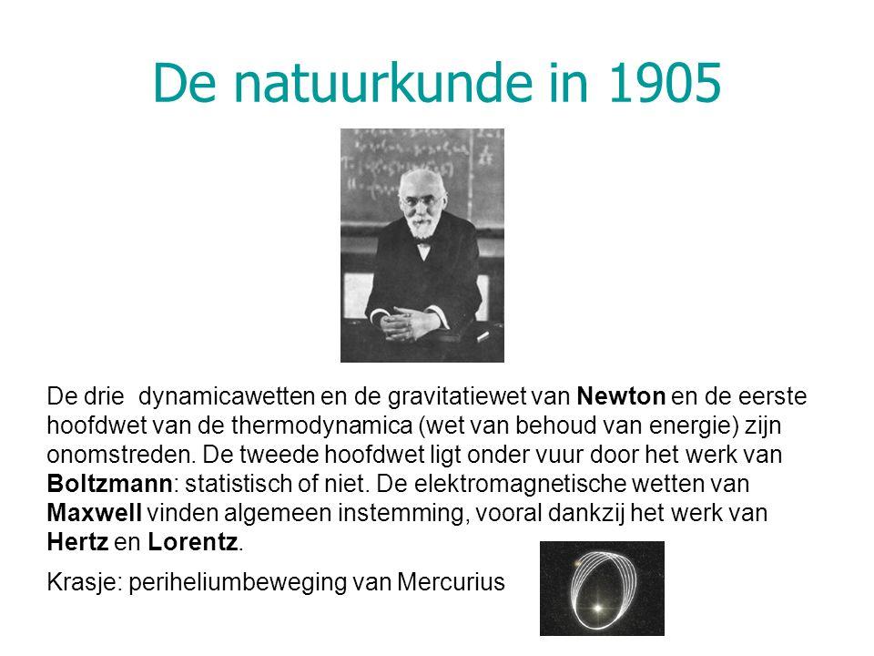 De natuurkunde in 1905 De drie dynamicawetten en de gravitatiewet van Newton en de eerste hoofdwet van de thermodynamica (wet van behoud van energie)