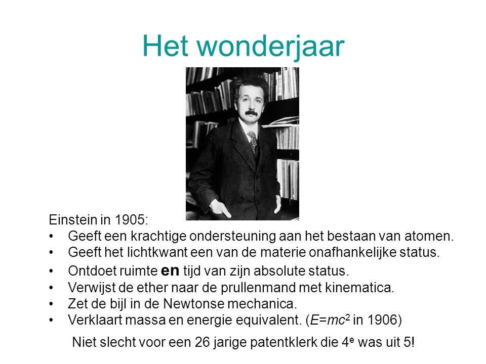 Het wonderjaar Einstein in 1905: Geeft een krachtige ondersteuning aan het bestaan van atomen. Geeft het lichtkwant een van de materie onafhankelijke