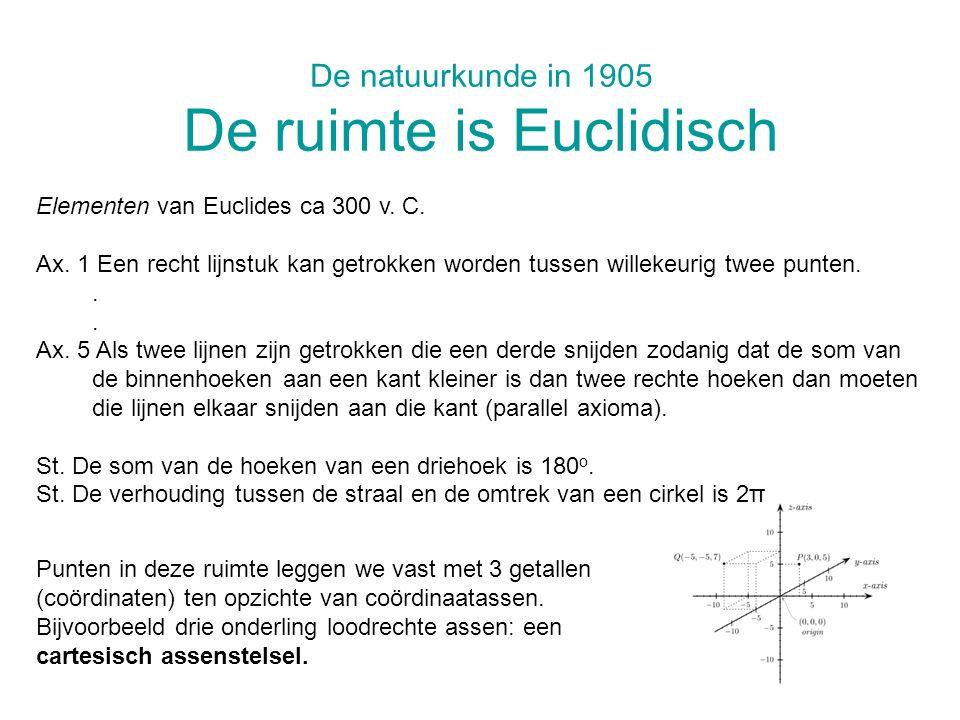 De natuurkunde in 1905 De ruimte is Euclidisch Elementen van Euclides ca 300 v. C. Ax. 1 Een recht lijnstuk kan getrokken worden tussen willekeurig tw