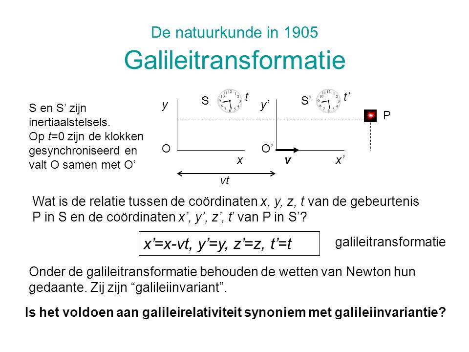 De natuurkunde in 1905 Galileitransformatie Wat is de relatie tussen de coördinaten x, y, z, t van de gebeurtenis P in S en de coördinaten x, y, z, t