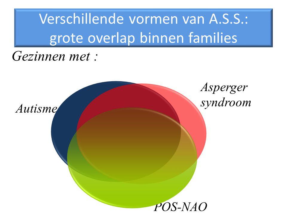 Verschillende vormen van A.S.S.: grote overlap binnen families Autisme Gezinnen met : Asperger syndroom POS-NAO