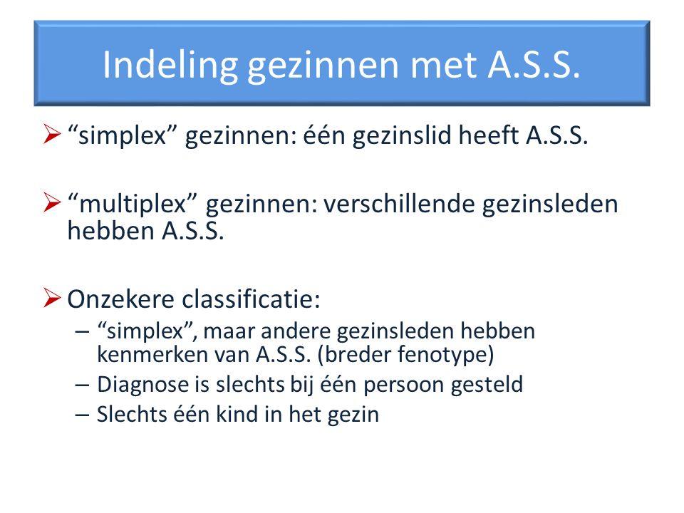 Indeling gezinnen met A.S.S. simplex gezinnen: één gezinslid heeft A.S.S. multiplex gezinnen: verschillende gezinsleden hebben A.S.S. Onzekere classif