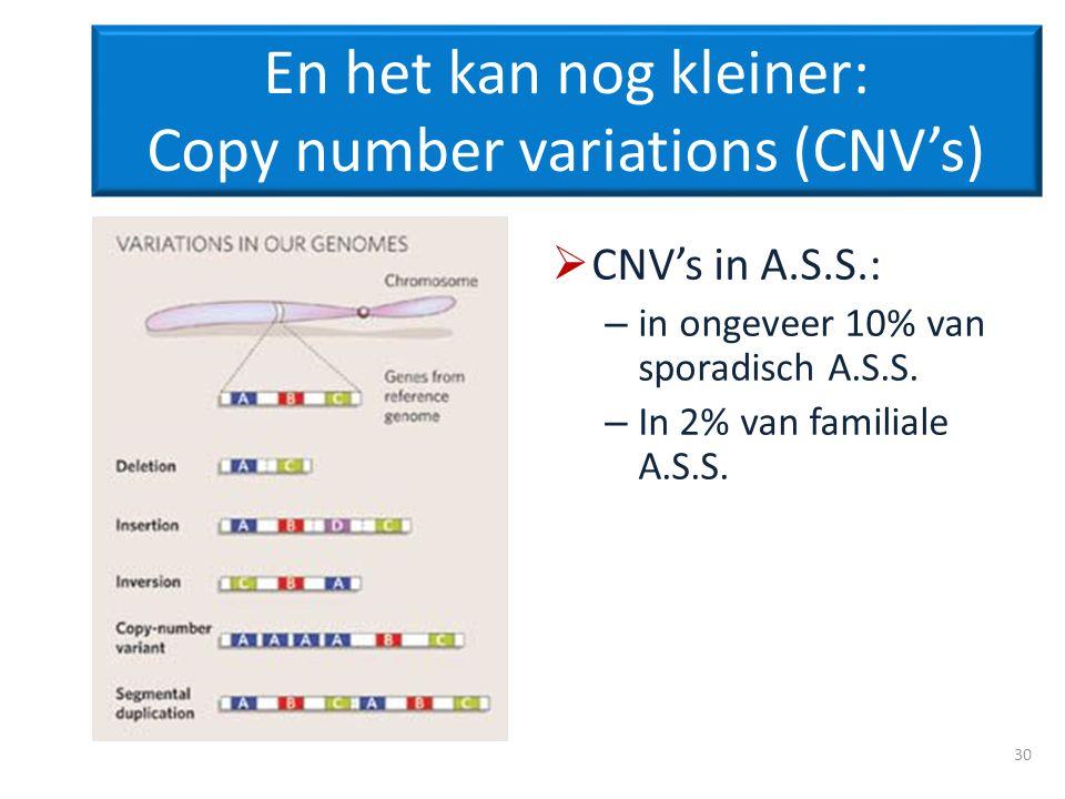 En het kan nog kleiner: Copy number variations (CNVs) CNVs in A.S.S.: – in ongeveer 10% van sporadisch A.S.S. – In 2% van familiale A.S.S. 30