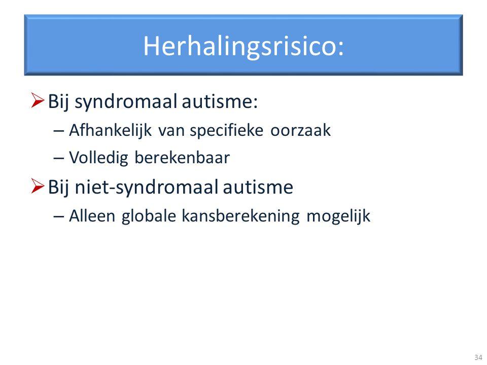 Herhalingsrisico: Bij syndromaal autisme: – Afhankelijk van specifieke oorzaak – Volledig berekenbaar Bij niet-syndromaal autisme – Alleen globale kansberekening mogelijk 34