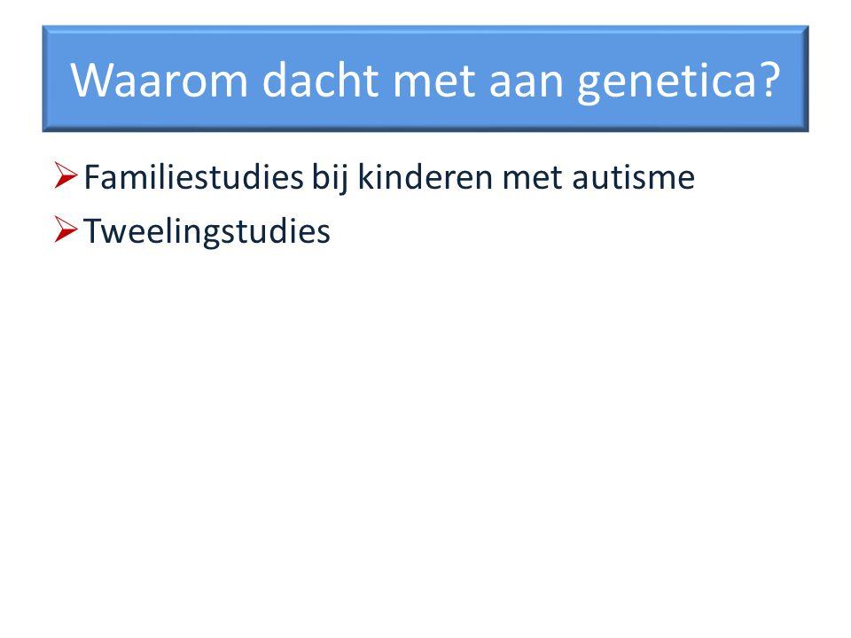 Waarom dacht met aan genetica? Familiestudies bij kinderen met autisme Tweelingstudies