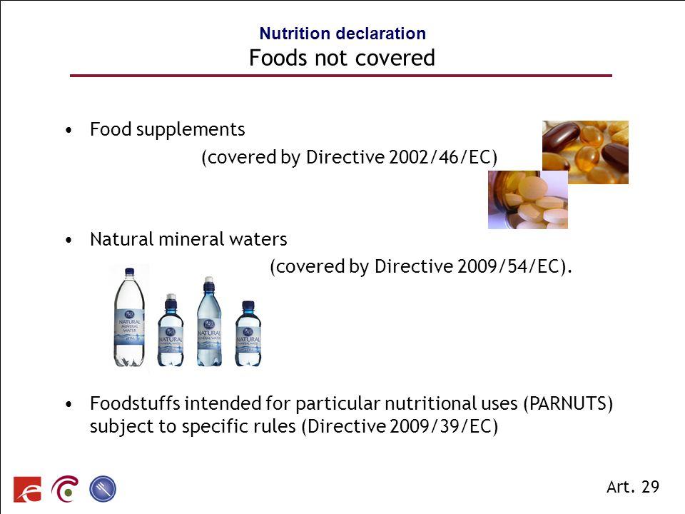 SPF SANTE PUBLIQUE, SECURITE DE LA CHAINE ALIMENTAIRE ET ENVIRONNEMENT Nutrition declaration Foods not covered Food supplements (covered by Directive