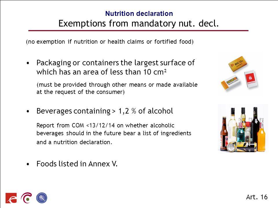 SPF SANTE PUBLIQUE, SECURITE DE LA CHAINE ALIMENTAIRE ET ENVIRONNEMENT Nutrition declaration Exemptions from mandatory nut. decl. (no exemption if nut