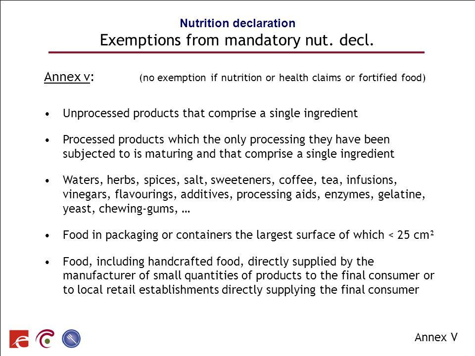 SPF SANTE PUBLIQUE, SECURITE DE LA CHAINE ALIMENTAIRE ET ENVIRONNEMENT Annex v: (no exemption if nutrition or health claims or fortified food) Unproce