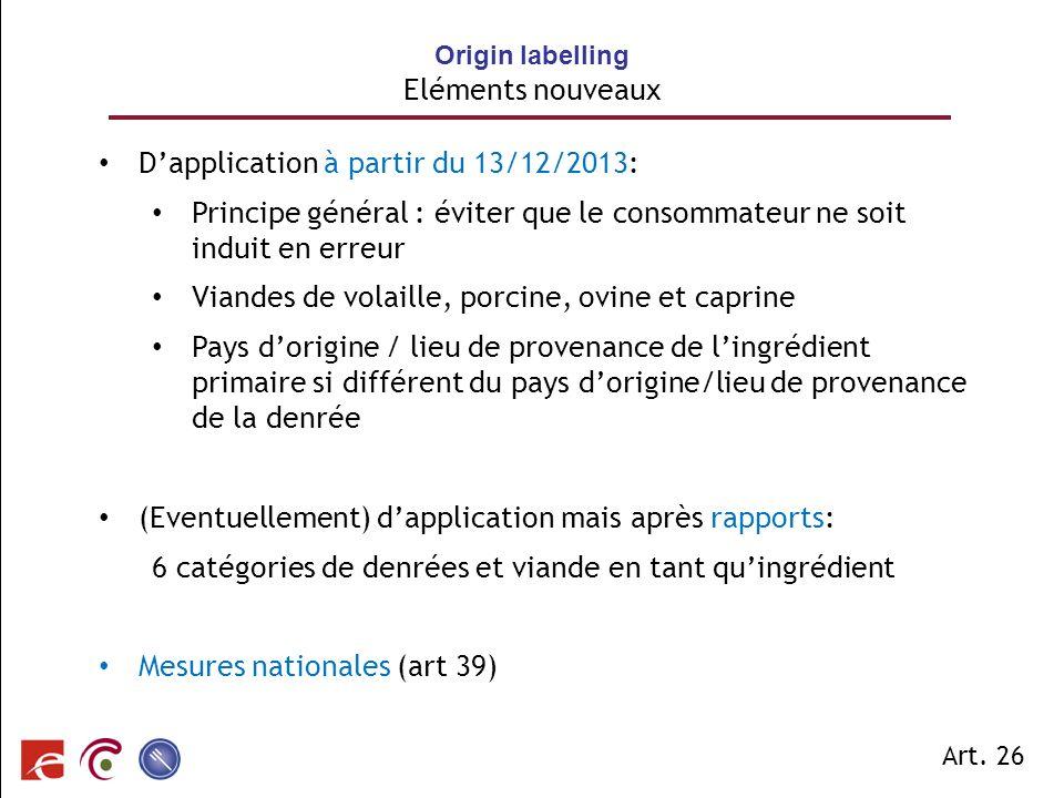 SPF SANTE PUBLIQUE, SECURITE DE LA CHAINE ALIMENTAIRE ET ENVIRONNEMENT Dapplication à partir du 13/12/2013: Principe général : éviter que le consommat