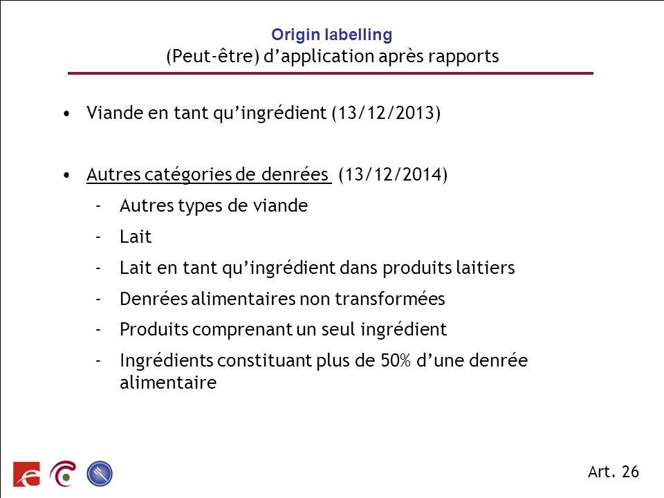 SPF SANTE PUBLIQUE, SECURITE DE LA CHAINE ALIMENTAIRE ET ENVIRONNEMENT Viande en tant quingrédient (13/12/2013) Autres catégories de denrées (13/12/20