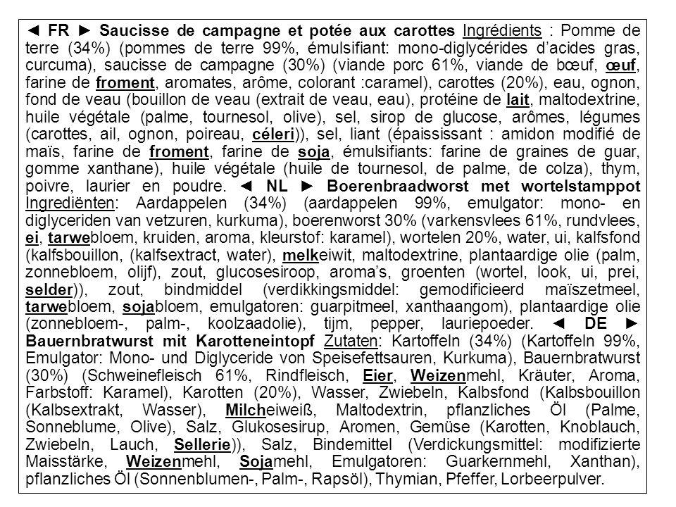 SPF SANTE PUBLIQUE, SECURITE DE LA CHAINE ALIMENTAIRE ET ENVIRONNEMENT FR Saucisse de campagne et potée aux carottes Ingrédients : Pomme de terre (34%