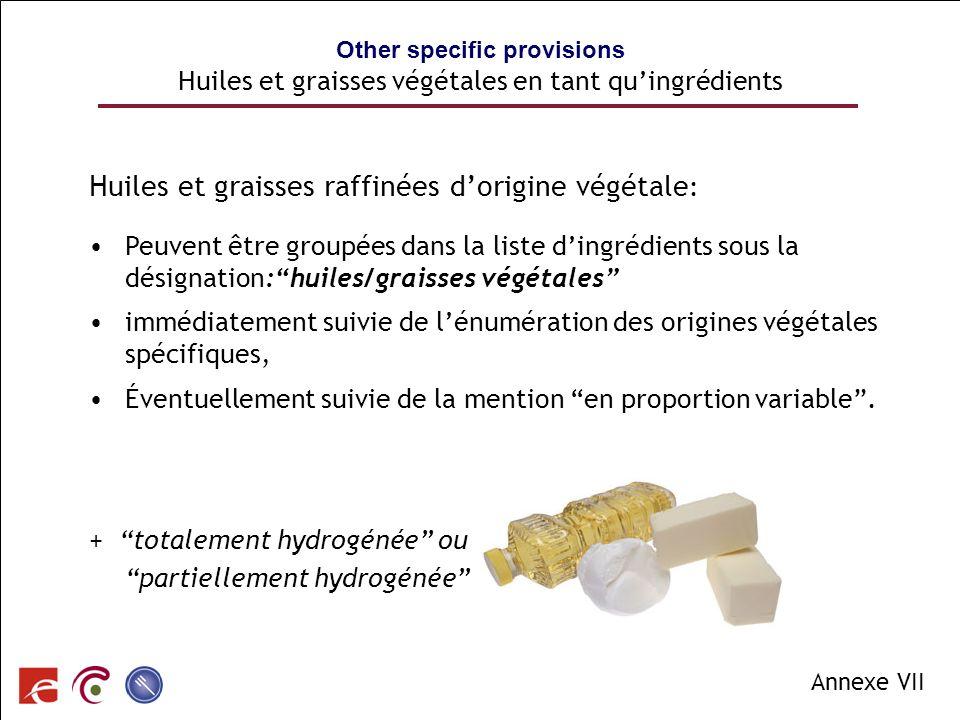 SPF SANTE PUBLIQUE, SECURITE DE LA CHAINE ALIMENTAIRE ET ENVIRONNEMENT Other specific provisions Huiles et graisses végétales en tant quingrédients Hu