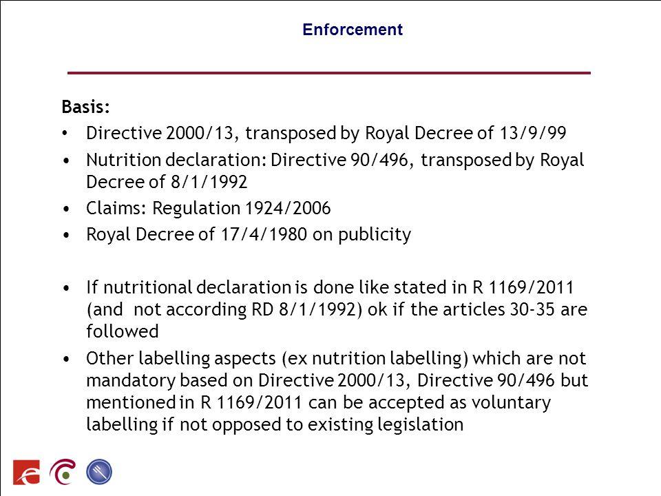 SPF SANTE PUBLIQUE, SECURITE DE LA CHAINE ALIMENTAIRE ET ENVIRONNEMENT 90 Enforcement Basis: Directive 2000/13, transposed by Royal Decree of 13/9/99