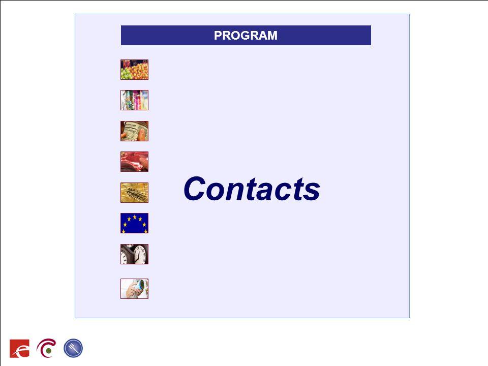 SPF SANTE PUBLIQUE, SECURITE DE LA CHAINE ALIMENTAIRE ET ENVIRONNEMENT Contacts PROGRAM