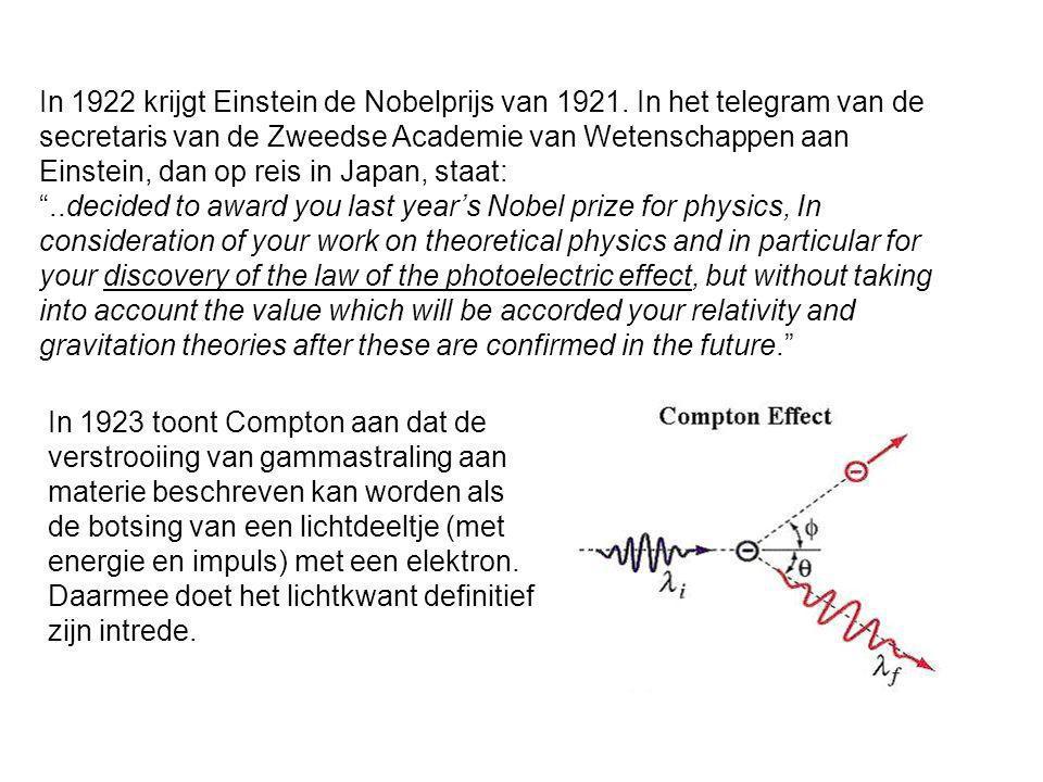 In 1922 krijgt Einstein de Nobelprijs van 1921. In het telegram van de secretaris van de Zweedse Academie van Wetenschappen aan Einstein, dan op reis