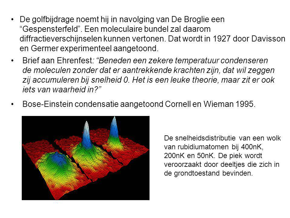 De golfbijdrage noemt hij in navolging van De Broglie een Gespensterfeld. Een moleculaire bundel zal daarom diffractieverschijnselen kunnen vertonen.